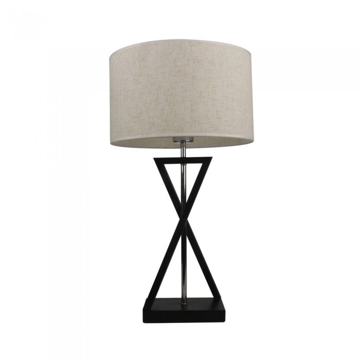 DESIGNER TABLE LAMP WITH IVORY LAMP SHADE-ROUND