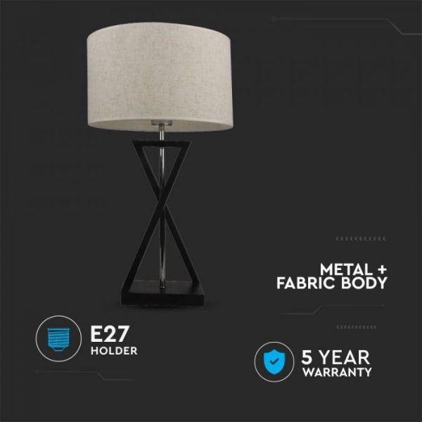 Designer Table Lamp Ivory Round Lampshade - Black Metal Base, Switch, E27 holder