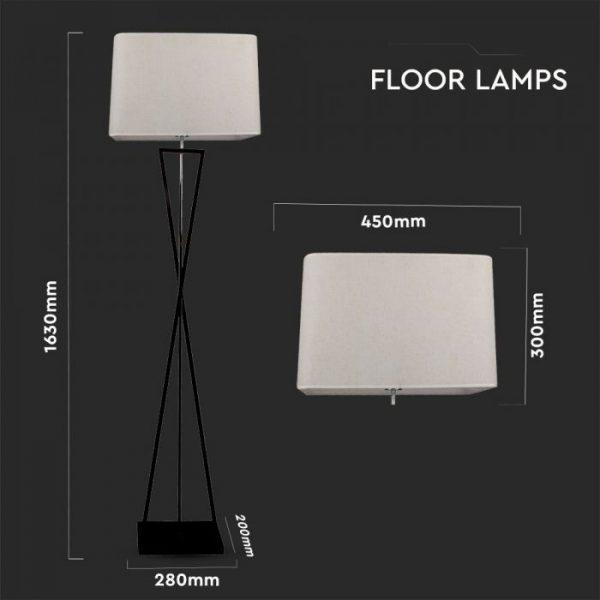 Designer Floor Lamp - Ivory Square Lampshade - Black metal canopy