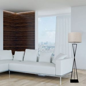 Designer Floor Lamp - Ivory Round Lampshade - Black metal canopy