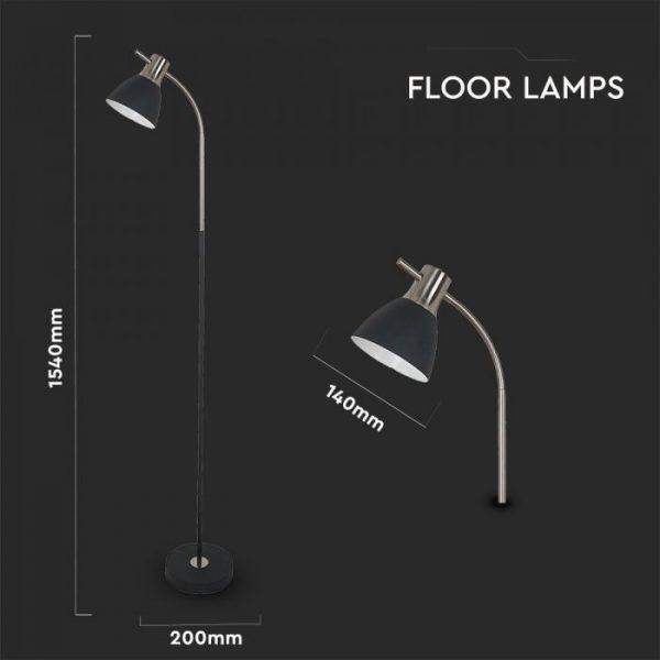 Designer Floor Lamp with Switch Black-Chrome E27