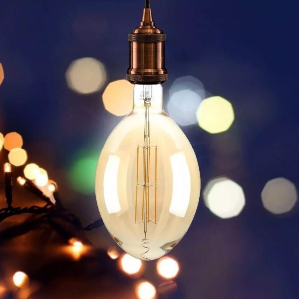 8W BF180 LED Amber Straight Filament Bulb Dimmable