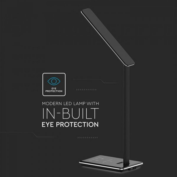 5W LED Table Lamp with Wireless Charger Black
