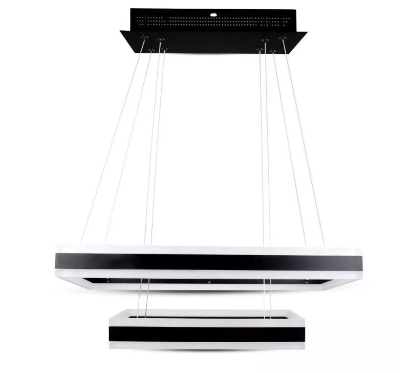 115W Soft Light Chandelier Dimmable Square Black