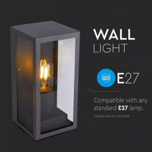 Wall Lamp 1 x E27 Matt Black Clear Glass