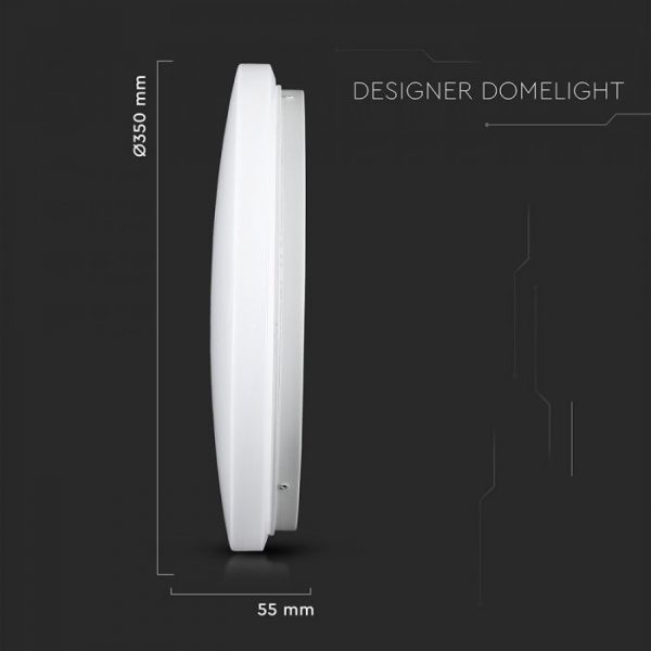 24W LED Dome Light with Milky Cover CCT:3in1-ROUND-35cm