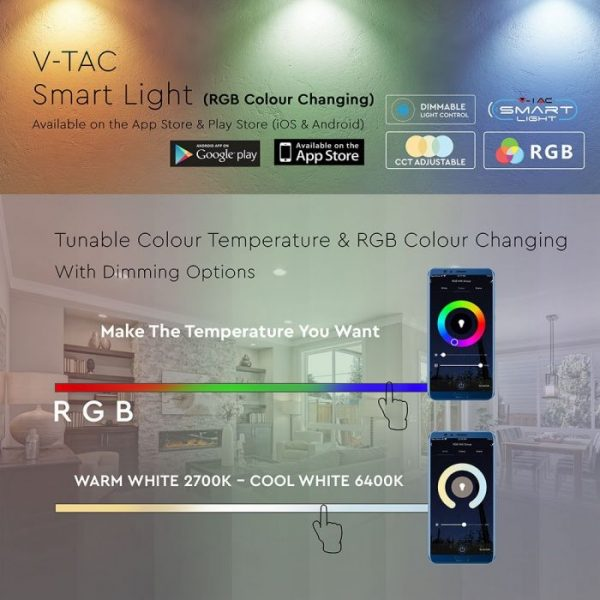 B22 Smart Led Bulb COMPATIBLE WITH AMAZON ALEXA AND GOOGLE HOME Dimmable: RGB+WW+CW B22