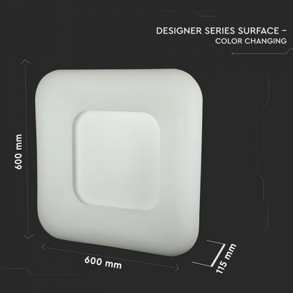 42W Square Led Designer Surface Pendant CCT and Dimmable 600x600x115 White
