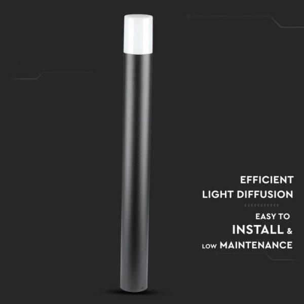 GU10 Garden Floor Lamp Aluminium Body Round Black 80CM