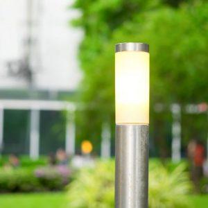 Bollard Lamp Stainless Steel Body 80cm Satin Nickel E27 Holder