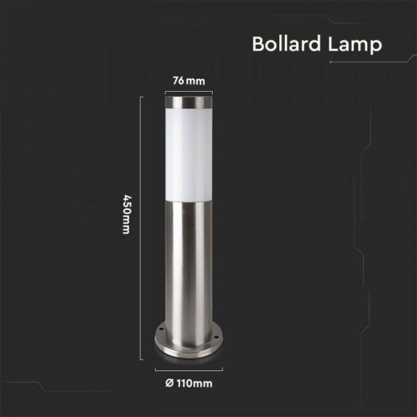 Bollard Lamp Stainless Steel Body E27 Holder