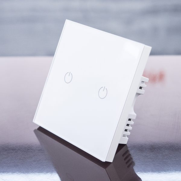 WIFI Touch Switch White (2 Gang) compatible with Amazon Alexa and Google Home