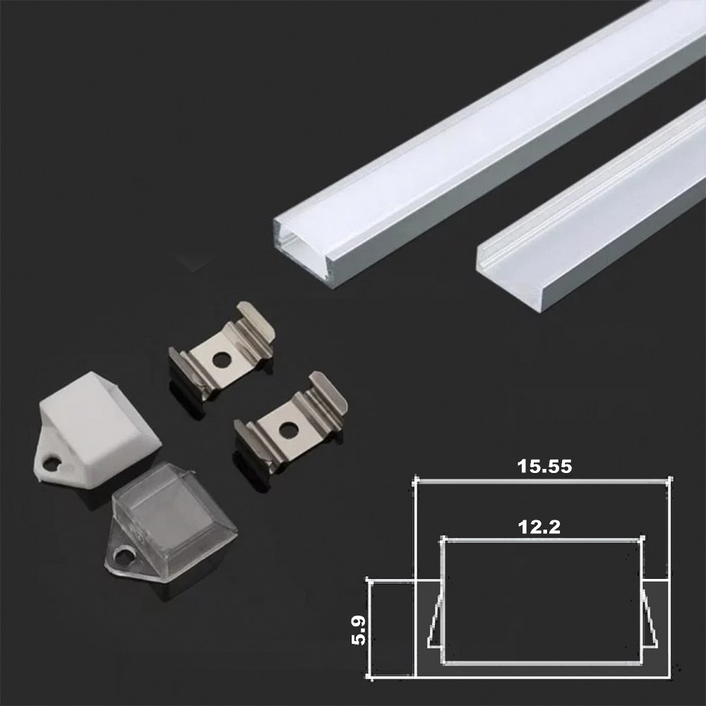 Aluminum LED Channel Square set Milky Diffusser Cover 2m