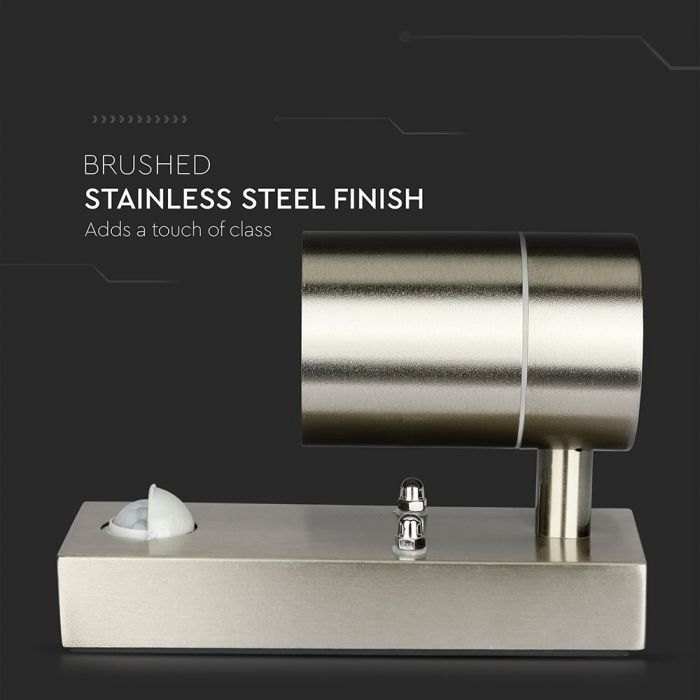 PIR GU10 WALL FITTING WITH SENSOR stainless steel finish