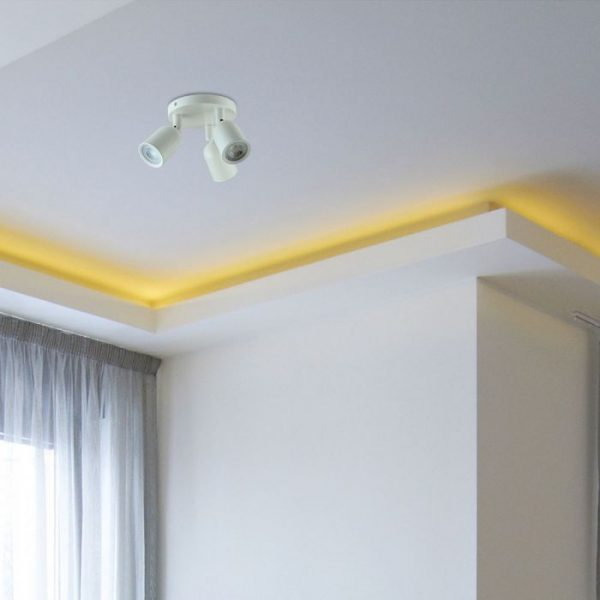3*GU10 Ceiling/Wall Fitting White Body