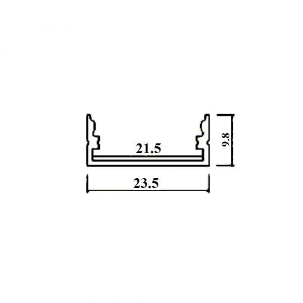 Aluminium LED Channel Square set 2000 x 23.5 x 10mm - Milky Diffuser Cover