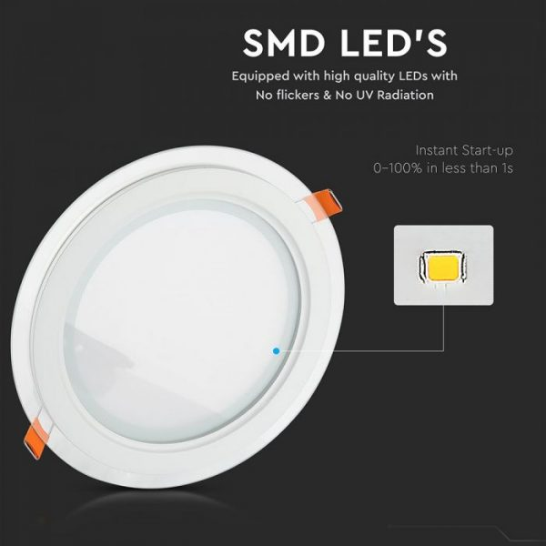6W LED Slim Glass Recessed Panel with Driver - Round