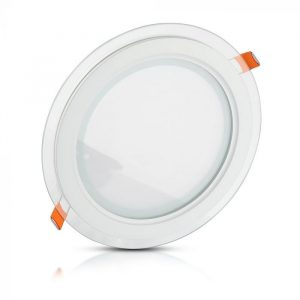 6W LED Slim Glass Recessed Panel with Driver - Round - 100mm
