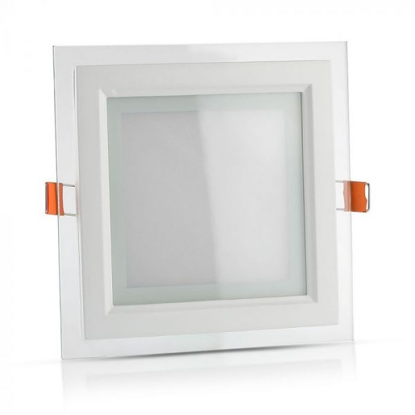 12W LED Slim Glass Recessed Panel with Driver - Square - 160mm