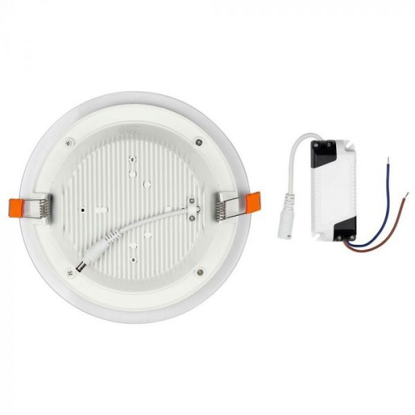 12W LED Slim Glass Recessed Panel with Driver - Round  - 160mm