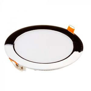 18W LED Slim Recessed Panel with Driver - Round - Chrome - 225mm