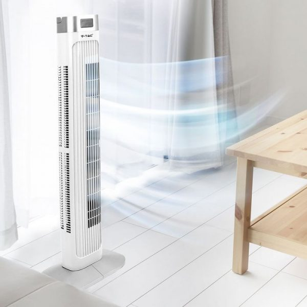 36 inch 55W Oscillating Tower Fan White - with Remote Control & Sleep Mode - 3 Speeds & Wind Modes - 15 hrs Timer for Home and Office