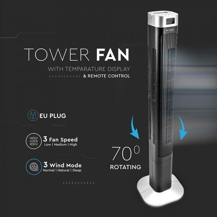 55W oscillating tower fan