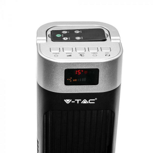 55W 3 Speed/ 3 Wind Mode Tower Fan with Remote Control - Black Silver - 46 inches - Prism Shape