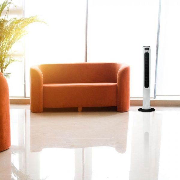 55W 3 Speed/ 3 Wind Mode Tower Fan with Remote Control - White Black - 46 inches - Cylinder Shape