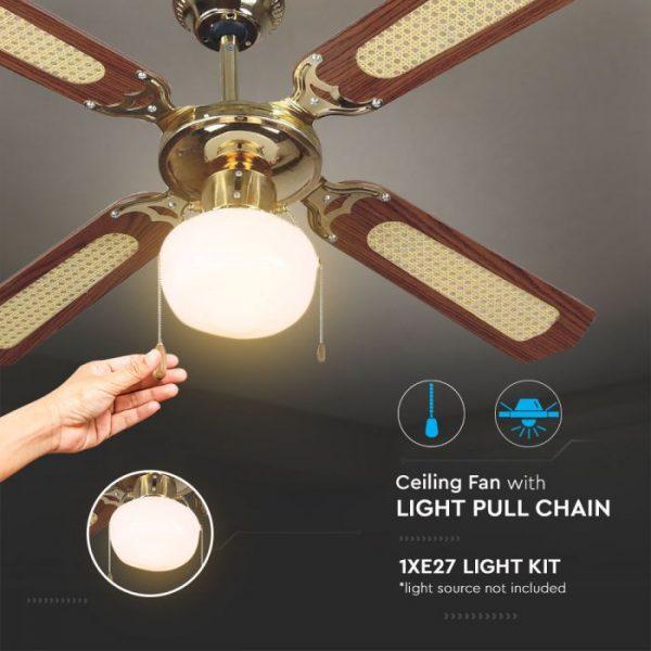 1-light pull-chain ceiling fan