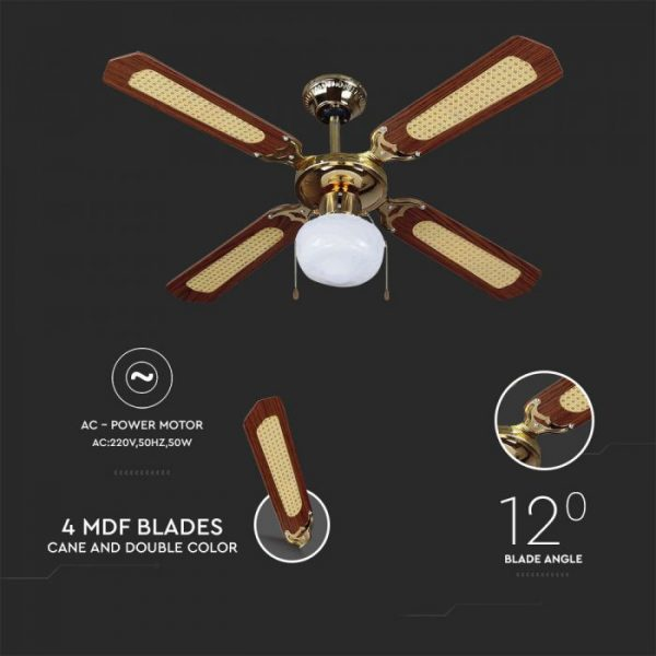 50W 3 Speed Ceiling Fan with Light Pull Chain - 4 MDF Blade with Cane and Double Color