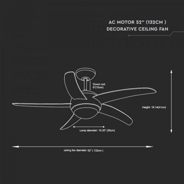 60W 3 Speed Ceiling Fan - 5 MDF Blades - Remote Control