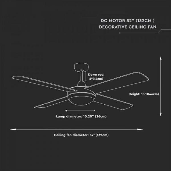 Ceiling Fan 4 MDF blades Silver - 35W/ 60W Versions - 3 Speed/ 5 Speed - Remote Control
