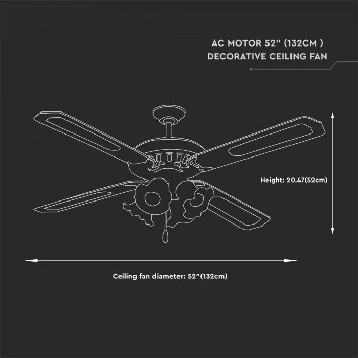 52-inch 3-speed ceiling fan
