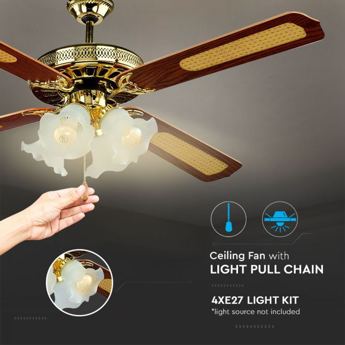 55w 3 Speed Ceiling Fan With Light Pull Chain Smart Lighting Industries