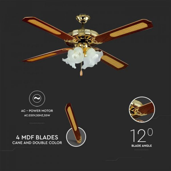 55W 3 Speed Ceiling Fan with Light Pull Chain - 4 MDF Blades with Cane and Double Color