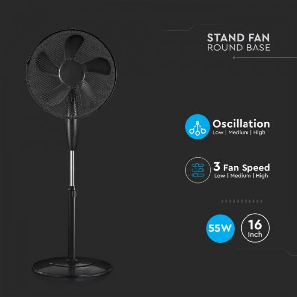 3 Speed Stand-Fan Black