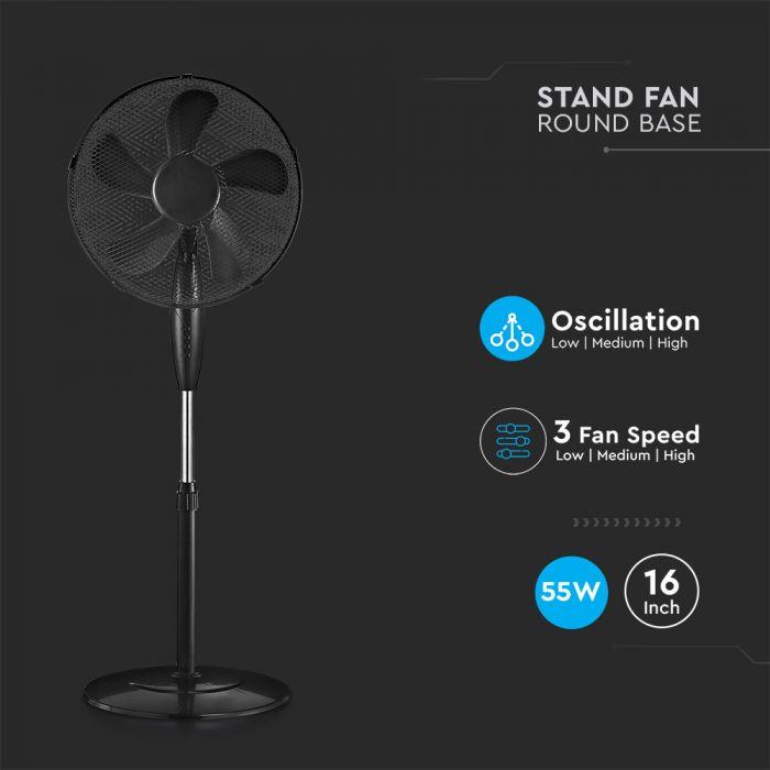 3 Speed Stand-Fan Black