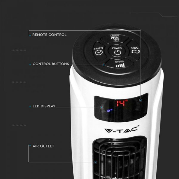 55W 3 Speed/ 3 Wind Mode Smart Tower Fan - Voice controlled through Alexa and Google Home - White Black - 46 inches - Cylinder Shape