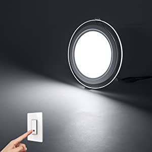 6W LED Slim Glass Recessed Panel with Driver Round
