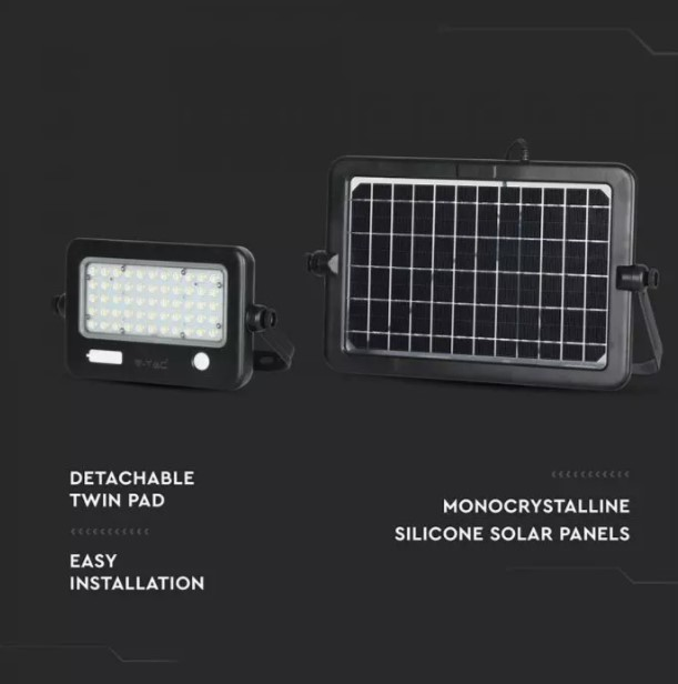 10W Solar Floodlight with PIR Sensor  and USB Port VT-788-10 SKU:8674