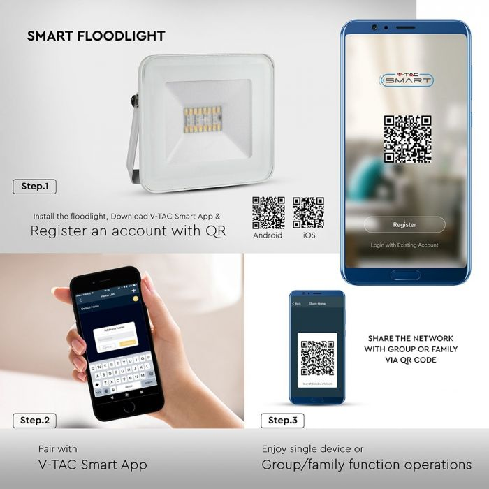 Smart Floodlight, dimmable floodlight, wireless control floodlight