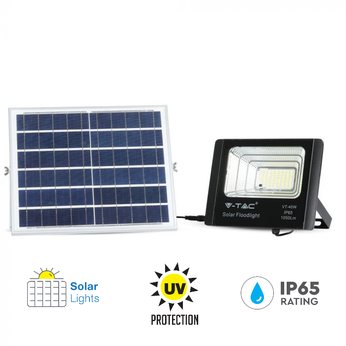 16W Solar Panel LED Floodlight with Remote Control and 5 Meter Wire