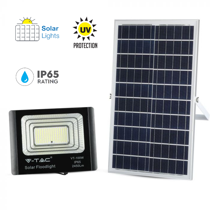 35W Solar Panel LED Floodlight with Remote Control and 5 Meter Wire