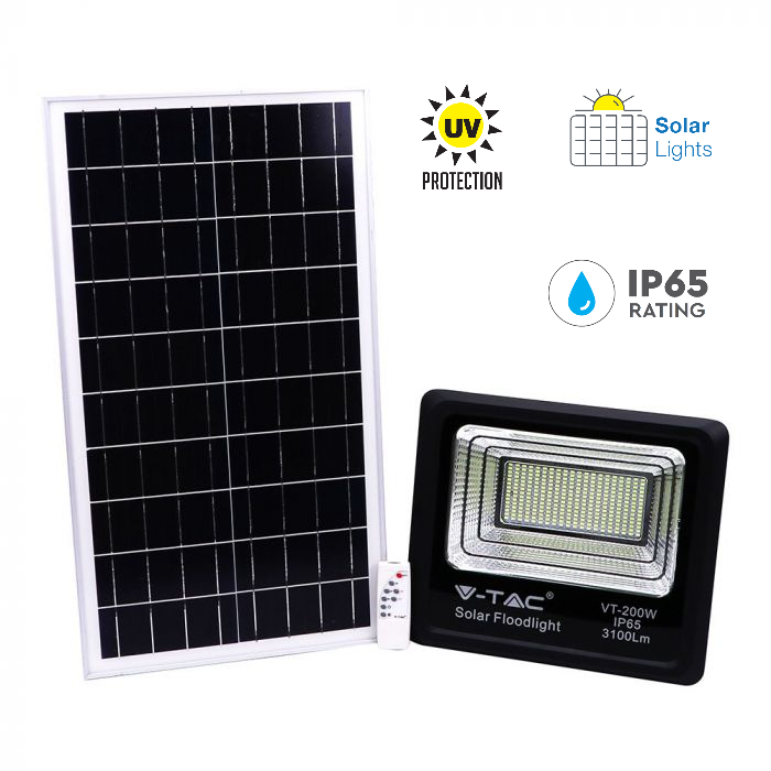 40W Solar Panel LED Floodlight with Remote Control and 5 Meter Wire