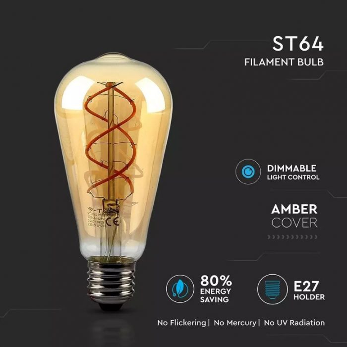 5W Amber LED Bulb Dimmable - Curve Filament - ST64 - 2200K (warm white)
