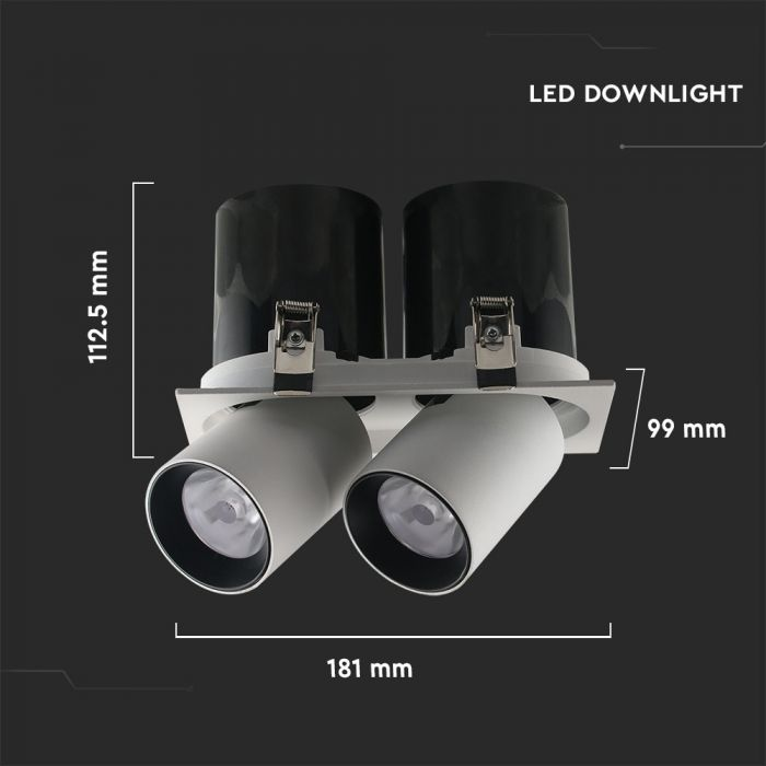 36W LED Reflector Downlight  Double Head - Adjustable Beam Angle