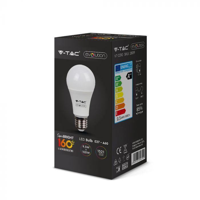 9.5W LED Thermoplastic Bulb A60 - 160 Lm/W