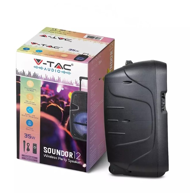 35W Rechargeable Trolley Speaker with Microphone-RF-RGB (12inch)