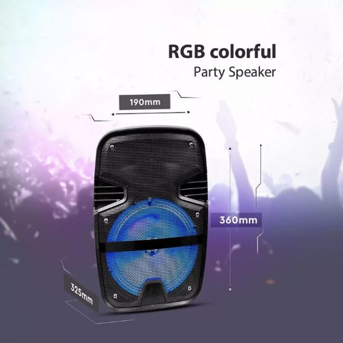 15W Rechargeable Trolley Speaker with Microphone-RF-RGB (8 inch)